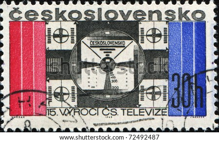 CZECHOSLOVAKIA - CIRCA 1968: A stamp printed in Czechoslovakia shows Adjustment television signal, circa 1968