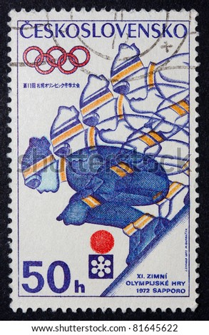 CZECHOSLOVAKIA - CIRCA 1972: A stamp printed in Czechoslovakia shows an image of a downhill skier player to mark the 1972 Winter Olympics, series, circa 1972