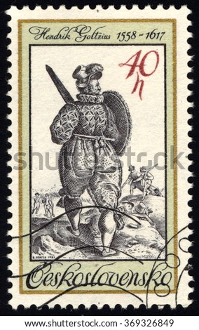 CZECHOSLOVAKIA - CIRCA 1983: A stamp printed in Czechoslovakia shows Ancient Turkish Soldier with Sword and Shield (engraving by Dutch painter Hendrik Goltzius), circa 1983 - stock photo