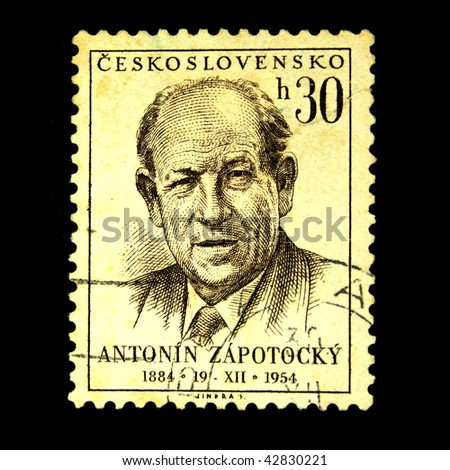 CZECHOSLOVAKIA - CIRCA 1954: A Stamp printed in Czechoslovakia shows Antonin Zapotocky, circa 1954