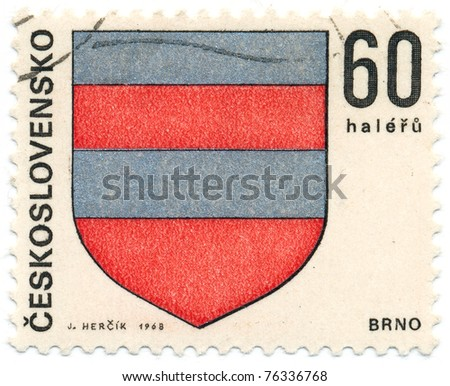 CZECHOSLOVAKIA - CIRCA 1968: A stamp printed in Czechoslovakia, shows arms of Regional Capitals Brno, circa 1968 - stock photo