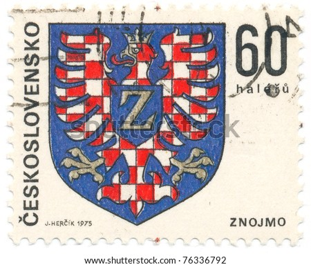 CZECHOSLOVAKIA - CIRCA 1975: A stamp printed in Czechoslovakia, shows arms of Znojmo, circa 1975