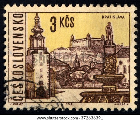 CZECHOSLOVAKIA - CIRCA 1965: A stamp printed in Czechoslovakia shows Bratislava City View, circa 1965 - stock photo