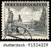 CZECHOSLOVAKIA - CIRCA 1953: A stamp printed in Czechoslovakia, shows Charles Bridge and Prague Castle, circa 1953 - stock photo