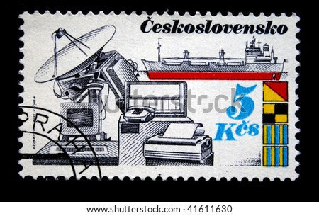 CZECHOSLOVAKIA - CIRCA 1978: A Stamp printed in Czechoslovakia shows communication equipment and ship, circa 1978 - stock photo
