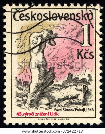 CZECHOSLOVAKIA - CIRCA 1987: A stamp printed in Czechoslovakia shows Destruction of Lidice and Lezaky, circa 1987 - stock photo