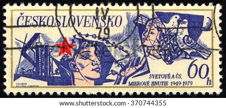CZECHOSLOVAKIA - CIRCA 1979: A stamp printed in Czechoslovakia shows Dove, Red Star, Man, circa 1979 - stock photo
