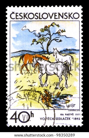 """CZECHOSLOVAKIA - CIRCA 1972: A stamp printed in Czechoslovakia shows draw """"Pasture, 1971"""" by Vojtech Sedlacek with the same inscription from the series """"Czechoslovak Graphic Art"""", circa 1972 - stock photo"""