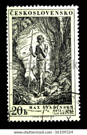 CZECHOSLOVAKIA - CIRCA 1973: A stamp printed in Czechoslovakia shows Engraving by Max Svabinsky, circa 1973