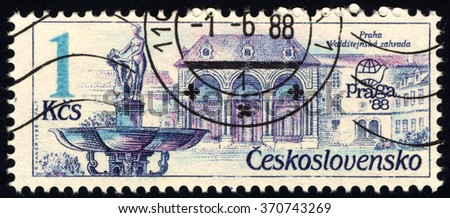 CZECHOSLOVAKIA - CIRCA 1988: A stamp printed in Czechoslovakia shows Exhibition emblem and fountains, Prague, circa 1988 - stock photo