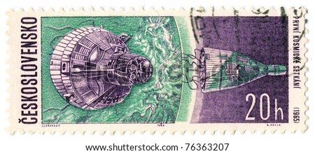 CZECHOSLOVAKIA - CIRCA 1965: A stamp printed in Czechoslovakia, shows first meeting in space, circa 1965