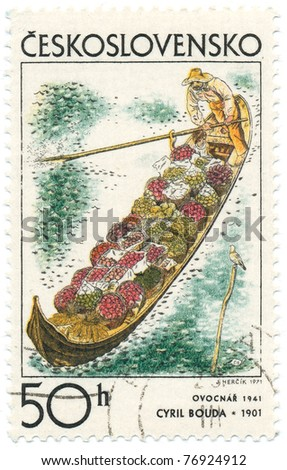 CZECHOSLOVAKIA - CIRCA 1971: A stamp printed in Czechoslovakia, shows fruit growerâ??s barge, 1941, by Cyril Bouda (1901-1984), series Czech and Slovak Graphic Art, circa 1971 - stock photo
