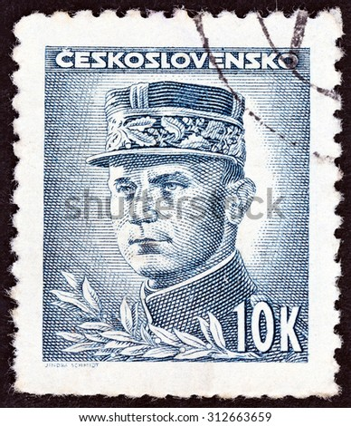 CZECHOSLOVAKIA - CIRCA 1945: A stamp printed in Czechoslovakia shows General Milan Rastislav Stefanik, circa 1945.  - stock photo
