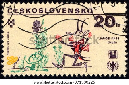 CZECHOSLOVAKIA - CIRCA 1979: A stamp printed in Czechoslovakia shows Illustration by Artist Janos Kass, circa 1979 - stock photo