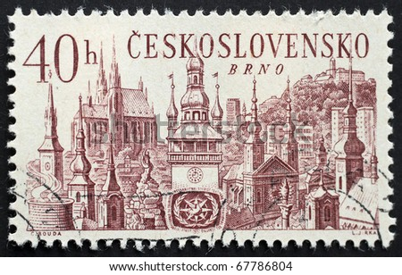 CZECHOSLOVAKIA - CIRCA 1967: a stamp printed in Czechoslovakia shows illustration of Brno, the second largest city in the Czech republic. Czechoslovakia, circa 1967 - stock photo