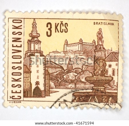 CZECHOSLOVAKIA - CIRCA 1963: A stamp printed in Czechoslovakia shows image of Bratislava, the present day Slovakian capital city, series, circa 1963 - stock photo