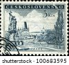 CZECHOSLOVAKIA - CIRCA 1952: A stamp printed in Czechoslovakia shows image of Charles bridge in Prague, circa 1952 - stock photo