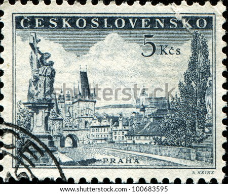 CZECHOSLOVAKIA - CIRCA 1952: A stamp printed in Czechoslovakia shows image of Charles bridge in Prague, circa 1952