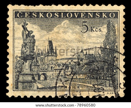 CZECHOSLOVAKIA - CIRCA 1962: A stamp printed in Czechoslovakia shows  image of Charles bridge in Prague, circa 1962 - stock photo
