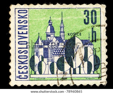CZECHOSLOVAKIA - CIRCA 1965: A Stamp printed in Czechoslovakia shows image of Kosice, circa 1965 - stock photo