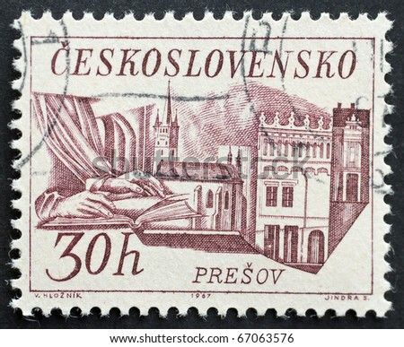 CZECHOSLOVAKIA - CIRCA 1967: a stamp printed in  Czechoslovakia shows image of Presov, the third-largest town in Slovakia. Czechoslovakia, circa 1967 - stock photo