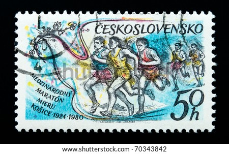 CZECHOSLOVAKIA - CIRCA 1980: A stamp printed in Czechoslovakia shows image of runners in the Kosice Peace Marathon, series, circa 1980 - stock photo