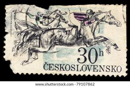 CZECHOSLOVAKIA - CIRCA 1976: A Stamp printed in Czechoslovakia shows image of  running horse, circa 1978