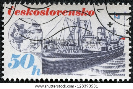 CZECHOSLOVAKIA - CIRCA 1989: A Stamp printed in Czechoslovakia shows image of Ship, circa 1989