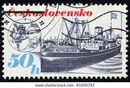 CZECHOSLOVAKIA - CIRCA 1989: A Stamp printed in Czechoslovakia shows image of Ship, circa 1989 - stock photo