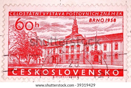 CZECHOSLOVAKIA - CIRCA 1958: A stamp printed in Czechoslovakia shows image of the city of Brno, series, circa 1958 - stock photo
