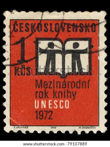 CZECHOSLOVAKIA - CIRCA 1972: A Stamp printed in Czechoslovakia shows image of UNESCO, circa 1972 - stock photo