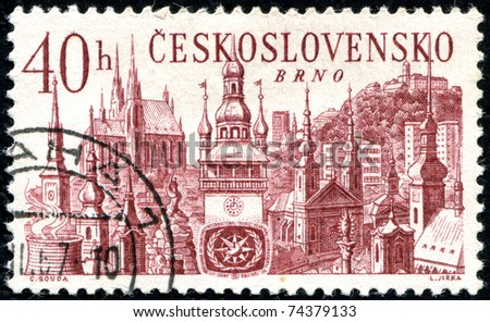 "CZECHOSLOVAKIA - CIRCA 1967: A stamp printed in Czechoslovakia shows international tourist year, with the inscription ""Brno"", series, circa 1967. - stock photo"