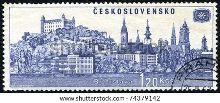 "CZECHOSLOVAKIA - CIRCA 1967: A stamp printed in Czechoslovakia shows international tourist year, with the inscription ""Bratislava"", series, circa 1967. - stock photo"