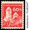 CZECHOSLOVAKIA - CIRCA 1960: A stamp printed in Czechoslovakia, shows Karlstein Castle, circa 1960 - stock photo