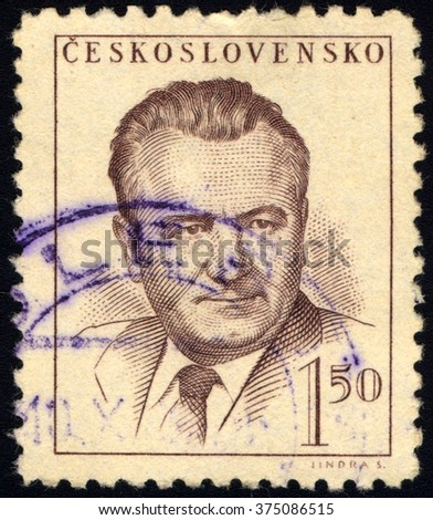 CZECHOSLOVAKIA - CIRCA 1948: A stamp printed in Czechoslovakia shows Klement Gottwald, circa 1948 - stock photo