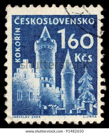 CZECHOSLOVAKIA - CIRCA 1960: A stamp printed in Czechoslovakia, shows Kokorin Castle, circa 1960