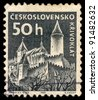 CZECHOSLOVAKIA - CIRCA 1965: A stamp printed in Czechoslovakia, shows Krivoklat castle, circa 1965 - stock photo