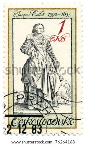 CZECHOSLOVAKIA - CIRCA 1983: A stamp printed in Czechoslovakia, shows lady with lace collar, by Jacques Callot (1592-1635), series Engravings of Costumes, circa 1983