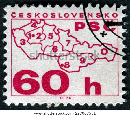CZECHOSLOVAKIA - CIRCA 1976: A stamp printed in Czechoslovakia shows map of Czechoslovakia, circa 1976 - stock photo