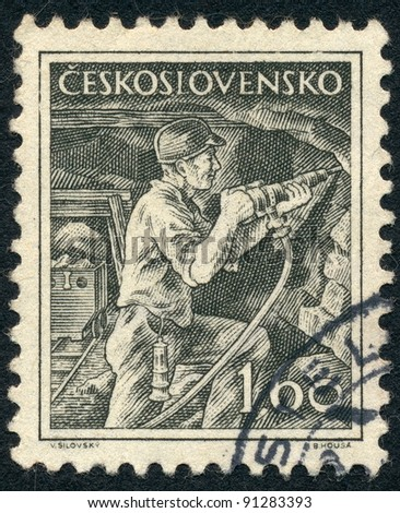 CZECHOSLOVAKIA - CIRCA 1954: A stamp printed in Czechoslovakia, shows Miner with jackhammer, series, circa 1954