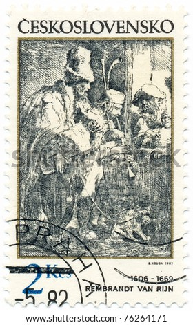CZECHOSLOVAKIA - CIRCA 1982: A stamp printed in Czechoslovakia, shows musicians in a hostel, by Rembrandt (1606-1669), series, circa 1982