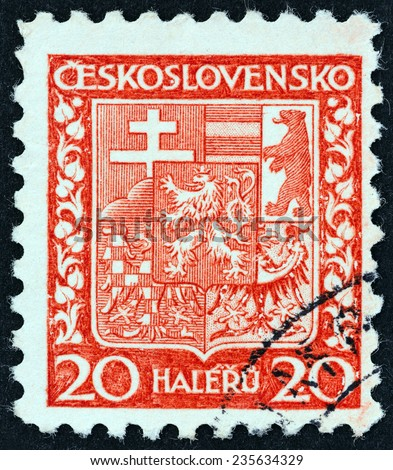 CZECHOSLOVAKIA - CIRCA 1929: A stamp printed in Czechoslovakia shows National Arms, circa 1929.  - stock photo