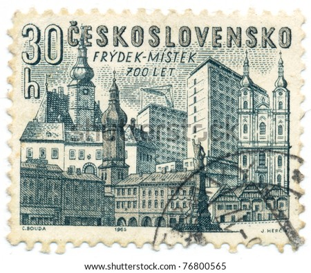 CZECHOSLOVAKIA - CIRCA 1965: A stamp printed in Czechoslovakia, shows old and new buildings in Frydek-Mystek, circa 1965