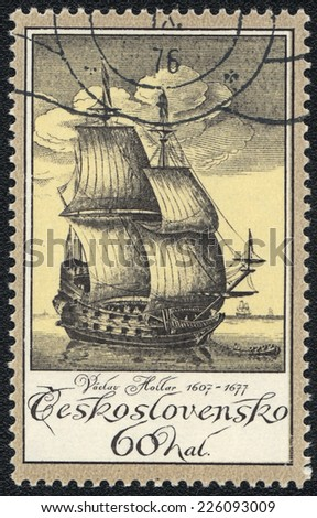 CZECHOSLOVAKIA - CIRCA 1976: A stamp printed in CZECHOSLOVAKIA  shows old engraving of a ship by Vaclav Hollar (1607-77), circa 1976  - stock photo