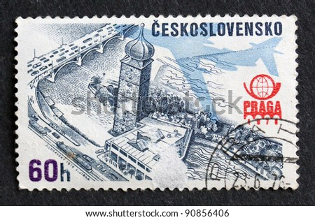 CZECHOSLOVAKIA - CIRCA 1978: A stamp printed in Czechoslovakia shows Old Prague  town square and bridge,  PRAGA '78 Emblem, circa 1978