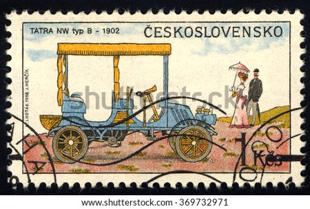 CZECHOSLOVAKIA - CIRCA 1988: A stamp printed in Czechoslovakia shows Old-Time Classical Car - NW Tip B, Historic Motor Cars series, circa 1988 - stock photo