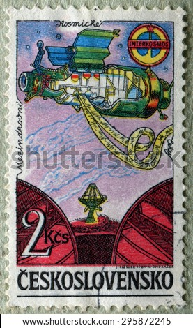 CZECHOSLOVAKIA - CIRCA 1984: A stamp printed in Czechoslovakia shows orbital station, Soviet Intercosmos program, circa 1984 - stock photo