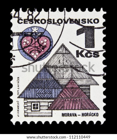 "CZECHOSLOVAKIA - CIRCA 1971: A stamp printed in Czechoslovakia, shows Ornamental roofs, Horacko, with the same inscription, from the series ""Czechoslovakia Regional Buildings"", circa 1971"