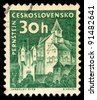 CZECHOSLOVAKIA - CIRCA 1960: A stamp printed in Czechoslovakia, shows Pernstein Castle, circa 1960 - stock photo