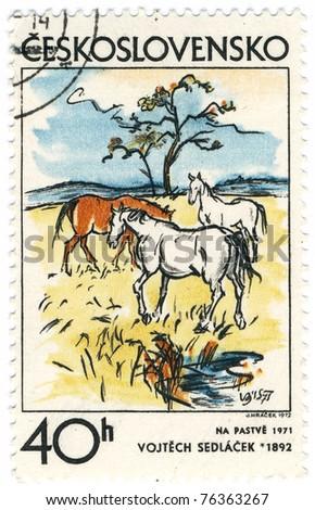 "CZECHOSLOVAKIA - CIRCA 1974: A stamp printed in Czechoslovakia, shows picture ""Pasture"" by Vojtech Sedlacek, circa 1974 - stock photo"